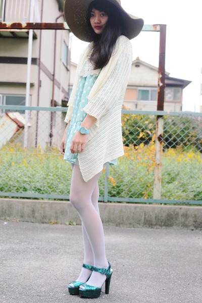 teal glitter asos heels - aquamarine dress