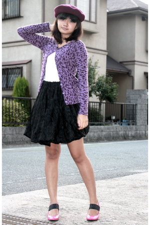 purple jacket - white blouse - black skirt - pink shoes