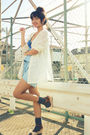 Blue-forever-21-accessories-white-vintage-cardigan-gray-socks-brown-shoes