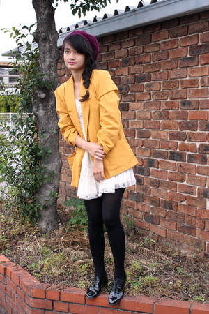 gold blazer - neutral dress - purple Uniqlo hat - black American Apparel shoes