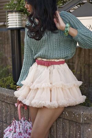 teal romwe sweater - hot pink Cinema Club belt