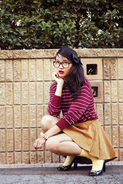 American Apparel skirt - American Apparel cardigan - diy Daiso glasses