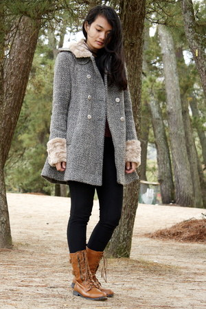 charcoal gray Topshop coat - burnt orange Forever 21 boots