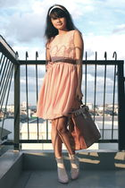 pink accessories - pink American Apparel dress - pink Claires accessories - whit