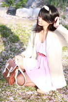 cream twisted scarf American Apparel scarf - brown satchel from japan bag - neut