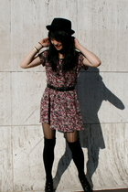 Goodwill dress - Buffalo Exchange - UO hat - Target stockings - Goodwilll shoes