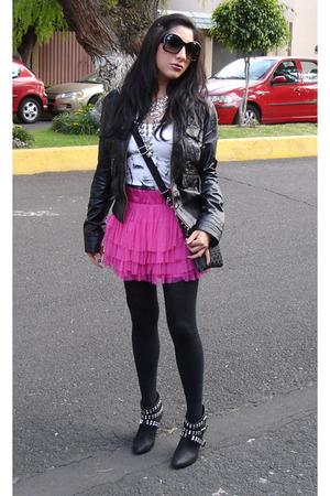 black Zara jacket - white H&M t-shirt - pink H&M skirt - black Zara boots - silv