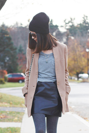 black beanie H&M hat - camel H&M coat - black Forever 21 purse