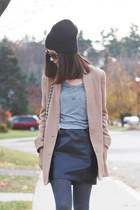 black beanie H&M hat - camel H&M coat - black Forever 21 purse