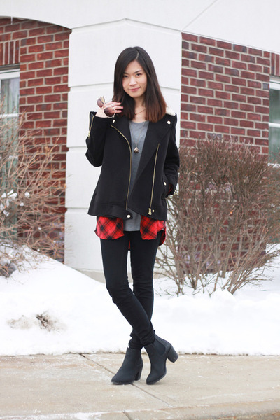 black H&M boots - black H&M coat - black American Eagle jeans - red H&M shirt