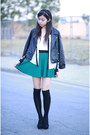 Black-thrifted-jacket-ivory-forever-21-shirt-green-forever-21-skirt