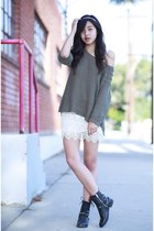 olive green H&M sweater - white free people dress - gold H&M hair accessory