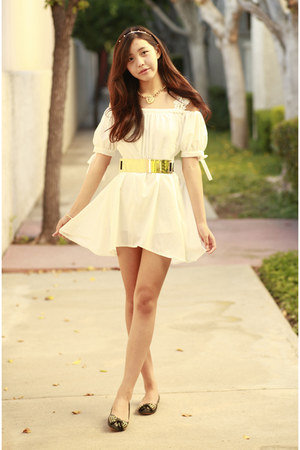 white OASAP dress - gold OASAP necklace
