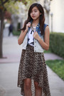 Brown-forever-21-skirt-blue-forever-21-vest