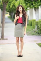 white Forever 21 skirt - red Forever 21 top - charcoal gray thrifted vest