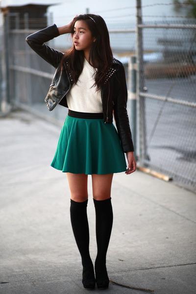 dark green Forever 21 skirt - black H&M jacket - ivory Forever 21 sweater