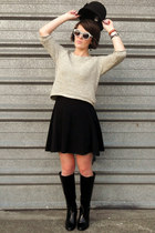 black asos boots - black garage dress - black portmans hat