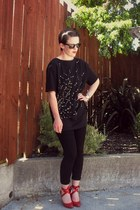 black custom made t-shirt - black Witchery pants - red Switch heels