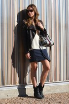 gray stripes madewell skirt - dark brown leather andrew marc jacket
