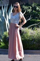 white lace zinke dress - black Zara heels - light pink Ark & Co skirt