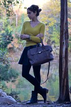 chartreuse Lord & Taylor sweater - black TJ Maxx skirt