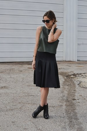 black midi asos skirt - army green crop Zara top