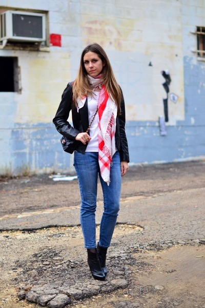 red thrifted scarf - Current Elliot jeans - black leather vince jacket