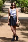 Black-pleather-tj-maxx-skirt-blue-kendra-scott-necklace