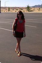 red Forever 21 t-shirt - black Express skirt - gold sam edelman shoes - black ka