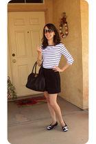 black Forever 21 shirt - black Forever 21 skirt - black Chanel shoes - black Kat