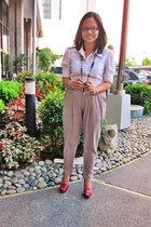 ruby red platform pumps Wet Seal shoes - heather gray high waist Bespoke pants -