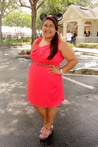 hot pink wedges - orange dress - black mickey ears hat - dark brown belt