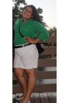 green vintage blouse - white shorts - white belt - zebra flats flats