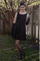 black Forever 21 dress - black DIY accessories