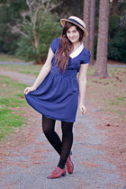 navy polka dot Forever 21 dress - brown lace up oxfords thrifted flats