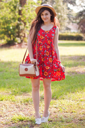 red thrifted vintage dress