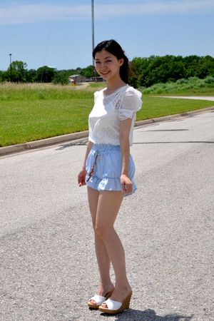 blue shorts - white top - white Aldo shoes