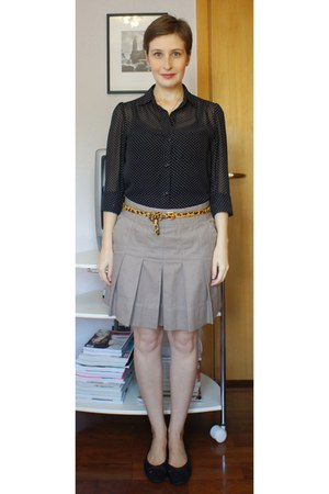 black laundry shirt - black lupo top - brown c&a belt