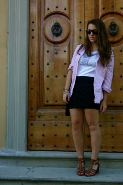 Zara shirt - united colors of benetton shirt - aa skirt - Ninewest shoes