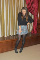 black bata boots - black zara blouse - blue pull and bear skirt