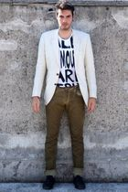 green Zara pants - white H&M t-shirt - yellow H&M jacket - black H&M shoes