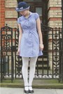 Blue-jumble-sale-dress-blue-checked-1960s-vintage-fashion-fair-hat