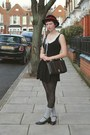 Black-primark-dress-black-velvet-vintage-hat-navy-vintage-bag-heather-gray