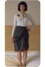 Blue-gap-cardigan-black-market-stall-accessories-gray-my-mums-skirt-black-