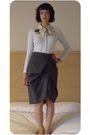 Blue-gap-cardigan-black-market-stall-accessories-gray-my-mums-skirt-black-