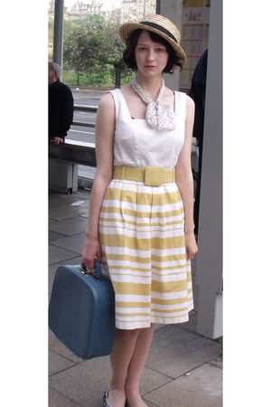 yellow Marks and Spencers dress - yellow charity shop hat - white Hobbs scarf