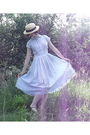 Blue-handmade-dress-beige-charity-shop-hat-black-bloch-shoes-beige-new-loo