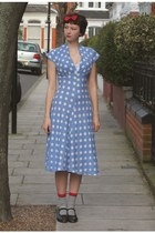 light blue Tara Starlet dress - black 1920s vintage heels