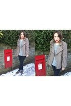 light brown coat - heather gray jumper - light brown shoes