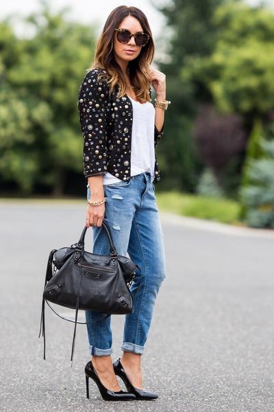 black Morgan old jacket - sky blue boyfriend H&M jeans - black balenciaga bag